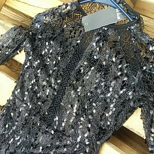 Nasty Gal Black Sequins & Lace Bodycon Dress US 4